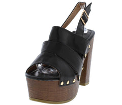 ROSEY06 BLACK DISTRESSED GOLD STUDDED SLING BACK CHUNKY WOOD HEEL - Wholesale Fashion Shoes