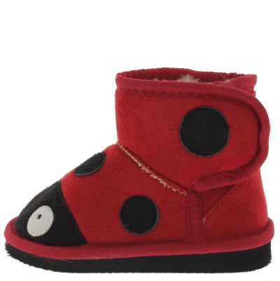 Rossi2 Red Infant Velcro Ladybug Boot - Wholesale Fashion Shoes