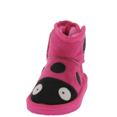 Rossi2 Fuchsia Infant Velcro Ladybug Boot - Wholesale Fashion Shoes