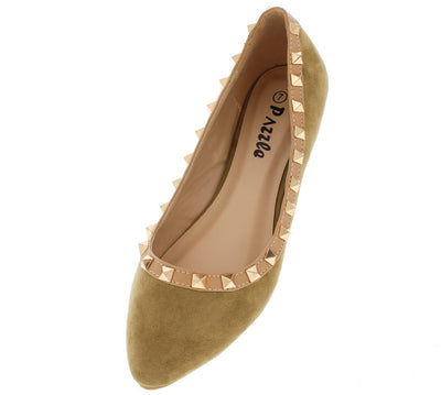 Roxana Nude Studded Pointed Toe Ballet Flat - Wholesale Fashion Shoes