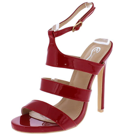 Rundy8 Dark Red Strappy Open Toe Ankle Strap Stiletto Heel - Wholesale Fashion Shoes