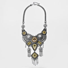 RUSSIAN PETRYKIVKA ACCENTED FLORAL BIB NECKLACE - Wholesale Fashion Shoes