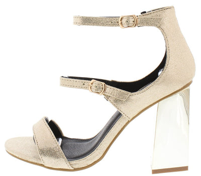 Ryanna12 Light Gold Open Toe Double Strap Slanted Heel - Wholesale Fashion Shoes