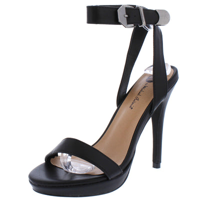 Mia085 Black Open Toe Cross Back Ankle Strap Stiletto Heel - Wholesale Fashion Shoes