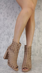 RYDER NUDE NUBUCK OPEN TOE CAGED CHUNKY HEEL - Wholesale Fashion Shoes - 2