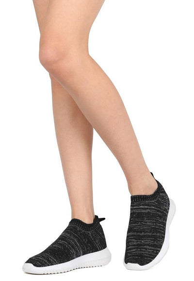Sabrina01 Black Heather Stretch Knit Slip On Sneaker Flat - Wholesale Fashion Shoes
