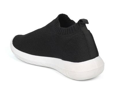 Sabrina01 Black Black Stretch Knit Slip On Sneaker Flat - Wholesale Fashion Shoes