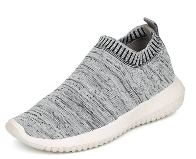 Sabrina01 Grey Heather Stretch Knit Slip On Sneaker Flat - Wholesale Fashion Shoes