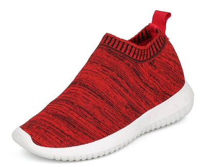 Sabrina01 Red Heather Stretch Knit Slip On Sneaker Flat - Wholesale Fashion Shoes