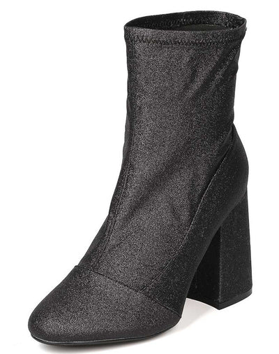 Sam2 Black Almond Toe Sparkle Stretch Chunky Heel Ankle Boot - Wholesale Fashion Shoes