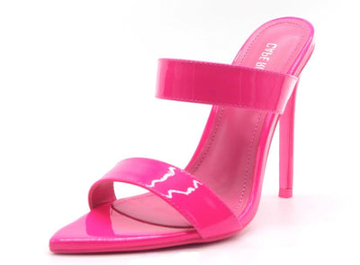 Sangria Pink Pointed Open Toe Dual Strap Stiletto Heel - Wholesale Fashion Shoes