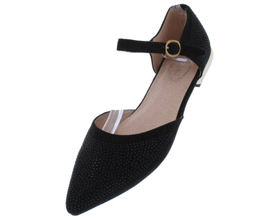 Elizabeth169 Black Pointed To Ankle Strap Dorsay Flat - Wholesale Fashion Shoes