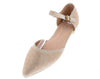 Elizabeth169 Peach Pointed To Ankle Strap Dorsay Flat - Wholesale Fashion Shoes