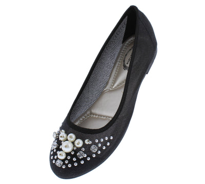 Ella010 Black Rhinestone Pearl Round Toe Mesh Ballet Flat - Wholesale Fashion Shoes