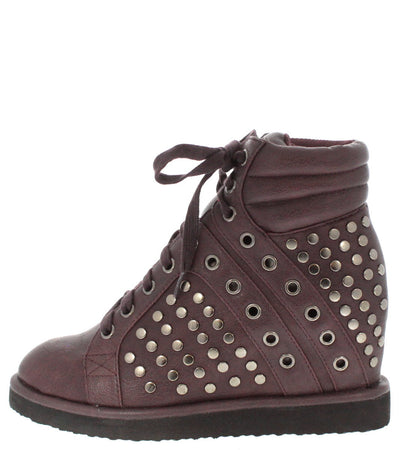Shirley4 Purple Studded Sneaker Wedge - Wholesale Fashion Shoes