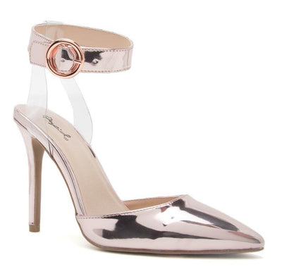 Show03 Rosa Pink Pointed Toe Lucite Cross Strap Ankle Band Heel - Wholesale Fashion Shoes