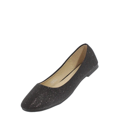 Soda001 Black Shimmer Ballet Flat - Wholesale Fashion Shoes