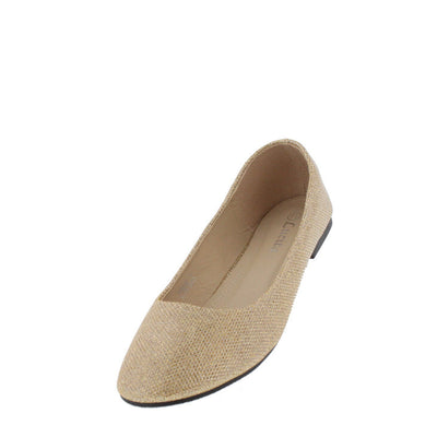 Soda001 Gold Shimmer Ballet Flat - Wholesale Fashion Shoes