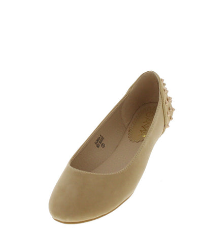 Sonia5 Beige Studded Back Flat - Wholesale Fashion Shoes