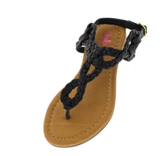 SOPHIE4K BLACK BRAIDED KIDS SANDAL - Wholesale Fashion Shoes