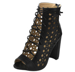 EVA BLACK OPEN TOE MULTI CUT OUT LACE UP CHUNKY HEEL - Wholesale Fashion Shoes