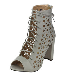 EVA GREY OPEN TOE MULTI CUT OUT LACE UP CHUNKY HEEL - Wholesale Fashion Shoes
