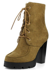STACEY1 MUSTARD EXTENDED SHAFT PLATFORM HEEL ANKLE BOOT - Wholesale Fashion Shoes - 2