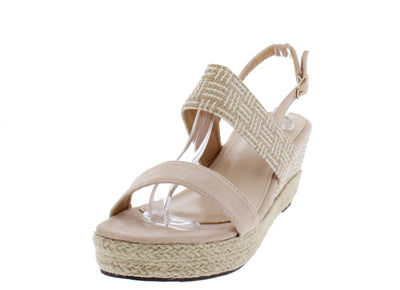 Stacey300lw Beige Women's Wedge - Wholesale Fashion Shoes