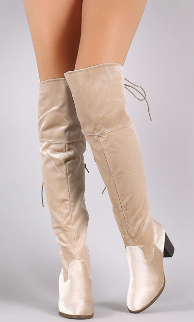 Steve Beige Velvet Lace Up Chunky Heel Boot - Wholesale Fashion Shoes