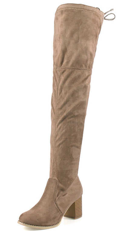 Stuart01 Taupe Chunky Heel Lace Up Closure Over the Knee Boot - Wholesale Fashion Shoes