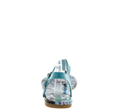 Suzan1 Light Blue Flag Travel Print Sandal - Wholesale Fashion Shoes