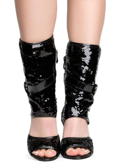 Suzzy75 Black Slouchy Sequin Side Buckle Cutout Boot - Wholesale Fashion Shoes