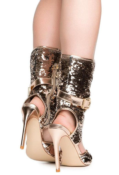 Suzzy75 Rose Gold Sequin Side Buckle Cutout Boot - Wholesale Fashion Shoes