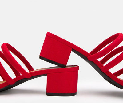 Swell01s Red Strappy Open Toe Short Mule Heel - Wholesale Fashion Shoes