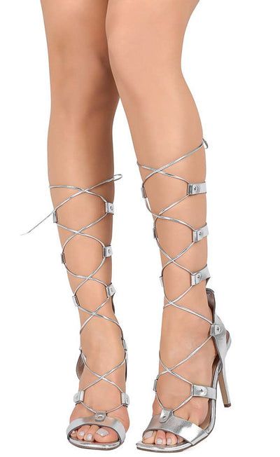 Swing06 Silver Lace Up Multi Strap Gladiator Studded Stiletto Heel - Wholesale Fashion Shoes