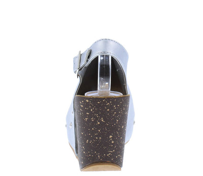 Sabanah11 Silver Peep Toe Rivet Covered Slingback Wedge - Wholesale Fashion Shoes