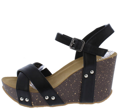 Sabanah12 Black Cross Strap Open Toe Ankle Strap Wedge - Wholesale Fashion Shoes