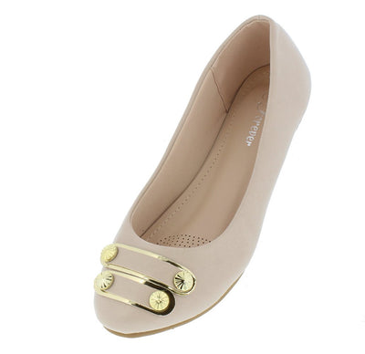Sabina40 Nude Nubuck Studded Strap Ballet Flat - Wholesale Fashion Shoes
