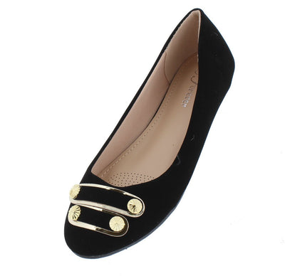 Sabina40 Black Nubuck Studded Strap Ballet Flat - Wholesale Fashion Shoes