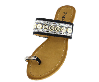 Sabrina60 Black Beaded Rhinestone Toe Ring Sandal - Wholesale Fashion Shoes