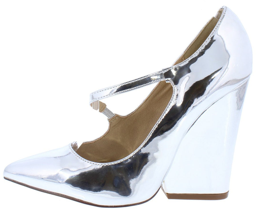 8ef30cdebb9a Amelia138 Silver Cross Strap Connected Chunky Heel - Wholesale Fashion Shoes