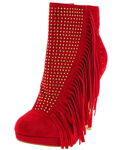Sacha Red Rhinestone Fringe Ankle Boot - Wholesale Fashion Shoes