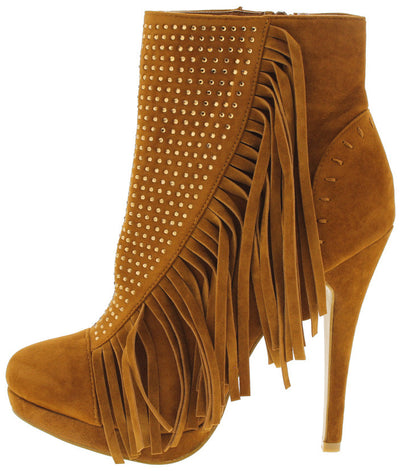 Sacha Tan Rhinestone Fringe Ankle Boot - Wholesale Fashion Shoes