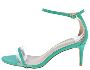 5ff49cd4724 Sade Green Lucite Open Toe Ankle Strap Short Heel - Wholesale Fashion Shoes