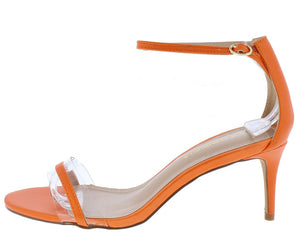 41799895403a Sade Orange Lucite Open Toe Ankle Strap Short Heel - Wholesale Fashion Shoes