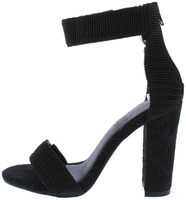 5c13a620cd Ella135 Black Ribbed Open Toe Ankle Strap Tapered Block Heel