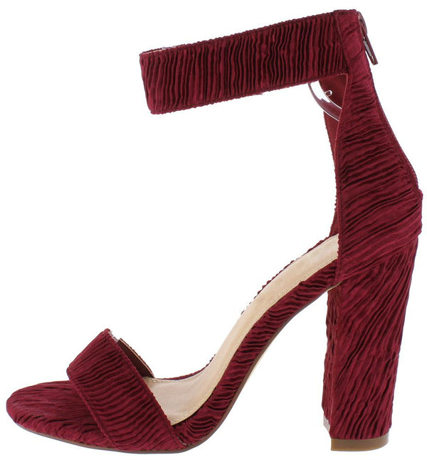 b6b737c13a Ella135 Wine Ribbed Open Toe Ankle Strap Tapered Block Heel