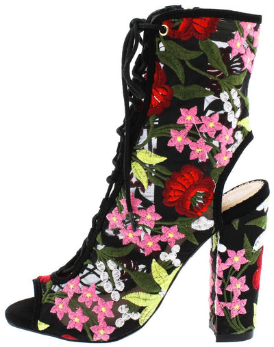 Bailey214 Black Lace Up Floral Mesh Cut Out Boot - Wholesale Fashion Shoes
