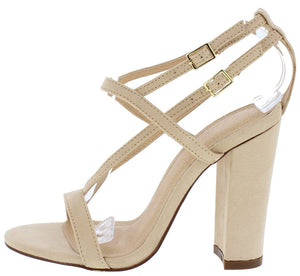 4792a5611fc5 Claire160 Nude Open Toe Cage Strap Chunky Heel - Wholesale Fashion Shoes