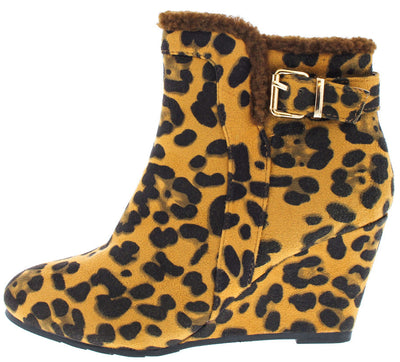 Sahara16 Leopard Fur Trim Wedge Ankle Boot - Wholesale Fashion Shoes